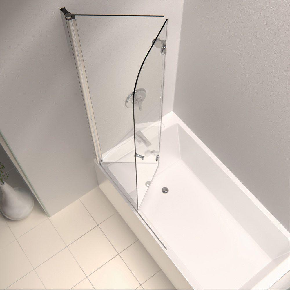 Aqua Fold 36 W X 58 H Folding Semi Frameless Tub Door Tub Shower Doors Tub Doors Bathtub Doors