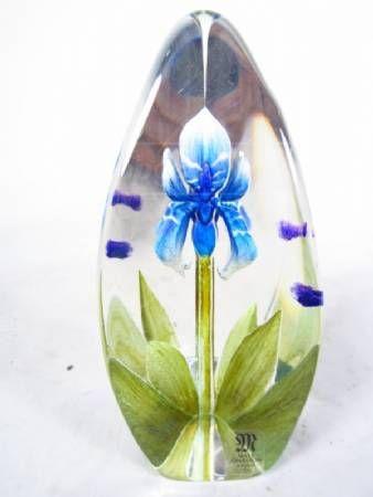 Mats Jonasson Glass Iris Paperweight Sweden