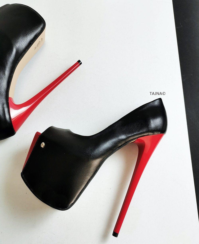 Black Red Peep Toe 19 cm High Heels em 2019 | Salto II | Saltos