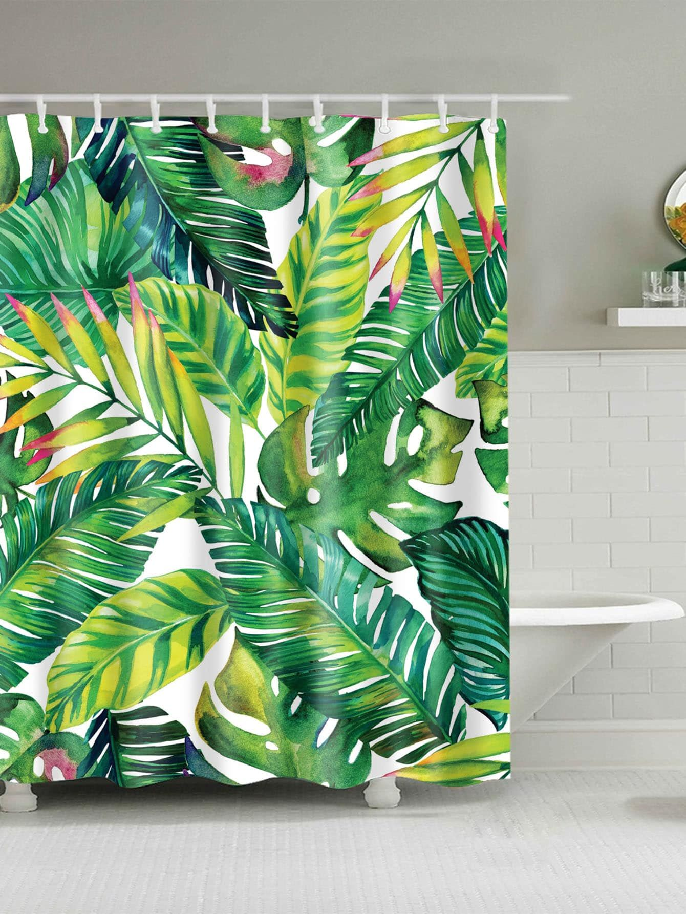 Tropical Leaf Print Shower Curtain With 12pcs Hook Ad Print Shower Tropical Banana Leaf Shower Curtain Fabric Shower Curtains Printed Shower Curtain