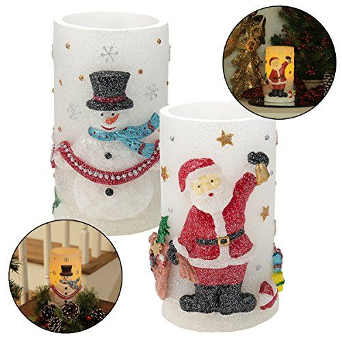 2 Led Holiday Christmas Flameless Candles Timer Flicker Set Light Santa Snowmen