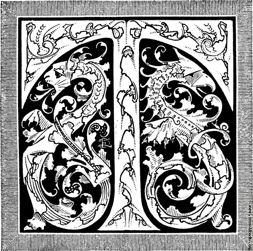 Decorative Initial T With Dragons    wwwfromoldbooksorg - best of medieval alphabet coloring pages