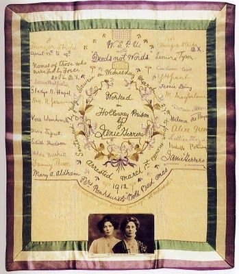embroidered suffragette hankerchief