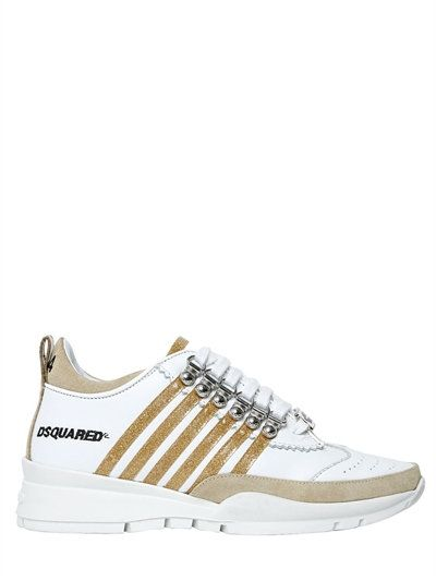 DSQUARED2 - 40MM 251 GLITTER   LEATHER SNEAKERS - WHITE GOLD  166706a0cc2