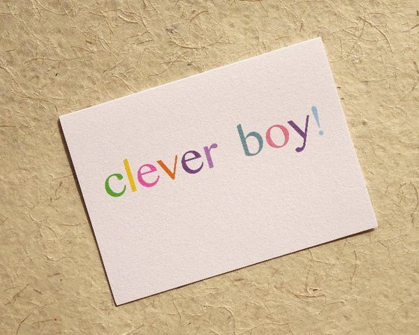 Clever boy card, congratulations, graduation, exams, driving test | Luck & Judgement - The Home of the Cutest Greeting Cards UK