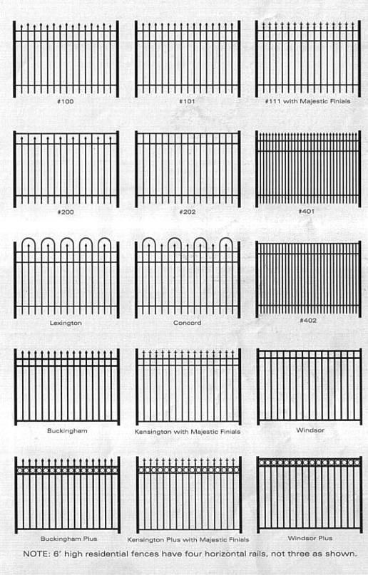 Wrought iron fencing - instead of varying the height on the top which makes it look like spikes, turn it upside down to create varying heights on the bottom. - create gaps in the center to create negative space that makes the poles look floating