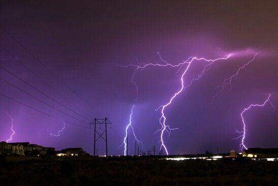 Lightening over powerline in west side Albuquerque.