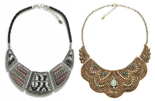 Left:Silver plated ethnic applique bib -Zara|Right:Eden Wow Bib Collar -Accessorize