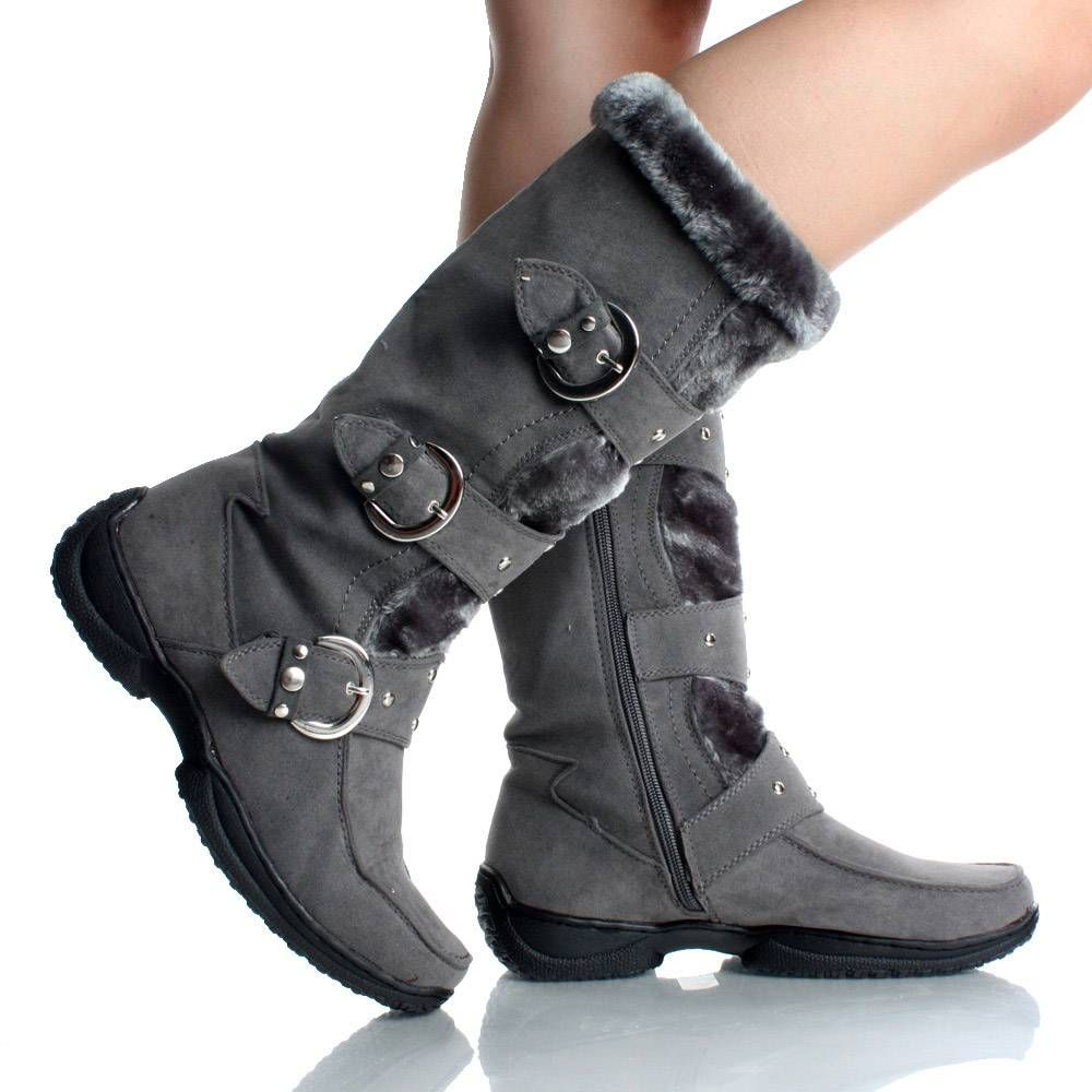 Women's Classic Winter Christmas Snow Boot Mid-Calf Type(Brown Black Grey Pink)