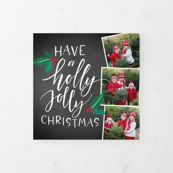 Holly Jolly Cute Rustic Multi Photo Tri Fold Holiday Card Zazzle Com Folded Holiday Cards Rustic Holiday Photo Cards Holiday Photo Cards Design