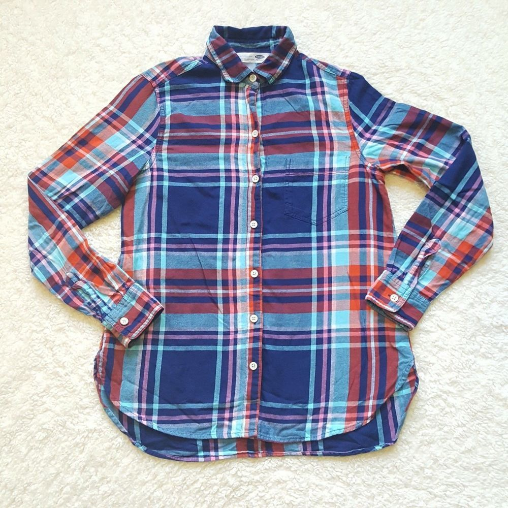 00a7f9ff Old Navy Women's Plaid Button Front Long Sleeve Shirt Size XS/TP Blue Red  Orange #OldNavy #Blouse #womens #womensfashion #fall #october