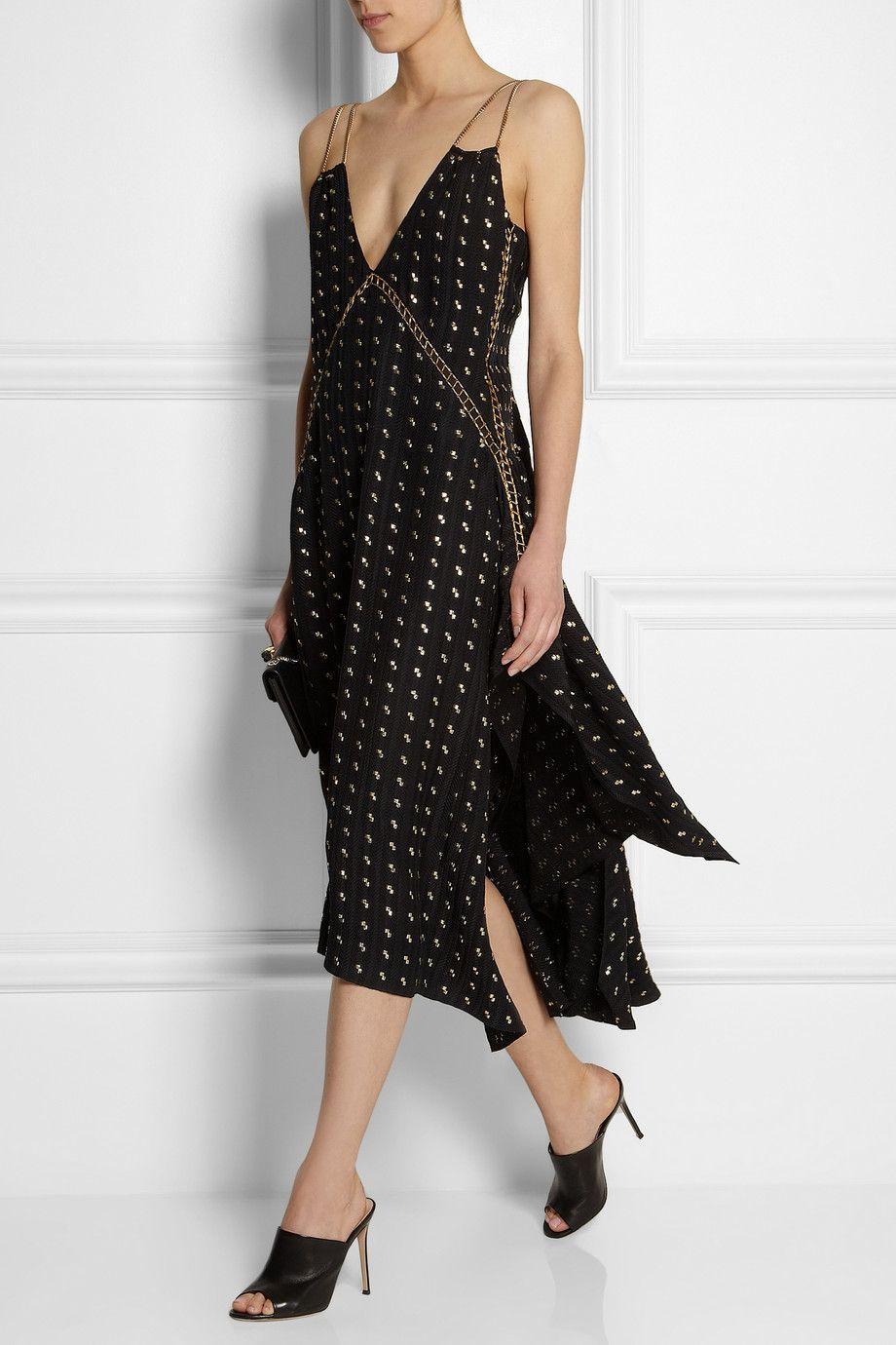 Best dress to wear to a baptism  Chloé  embellished herringbone silkblend dress  Wear it  frocks