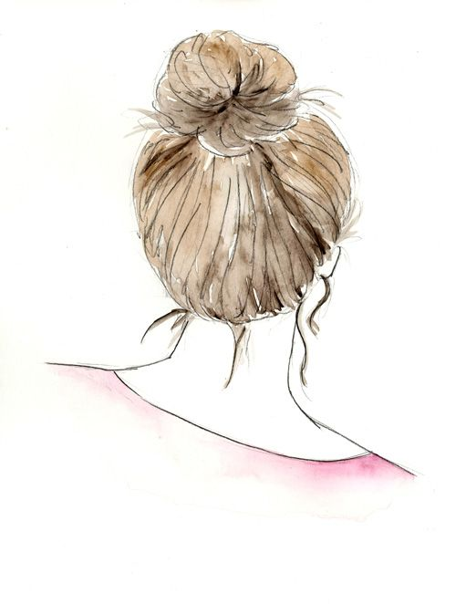 Watercolor Sketch...Girl With Bun BamBellaArt.etsy.com