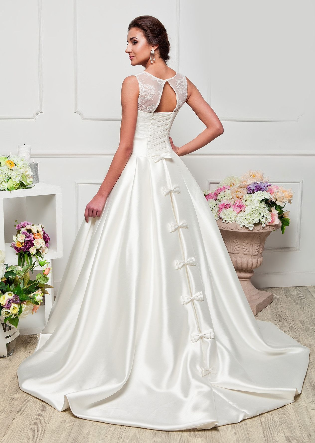 Satin Wedding Dress With Ribbon And Beading Crystal Long Lace