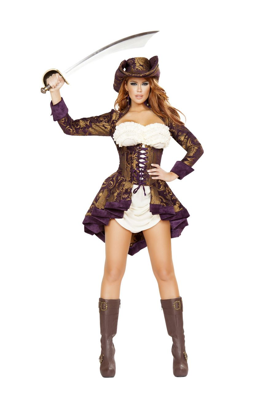 e884112762 Sexy Roma Brown Purple White Classy Pirate Pirates of the Caribbean Captain  Hook Swashbuckler Halloween Party Costume