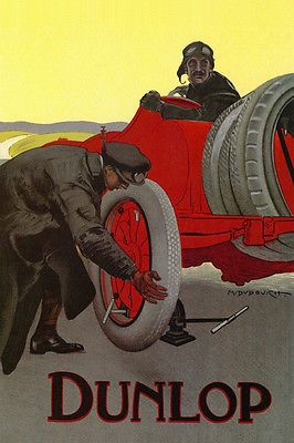 FRENCH-CAR-RACE-DUNLOP-TYRE-PNEUS-FRANCE-PARIS-EUROPE-VINTAGE-POSTER-REPRO-12X16
