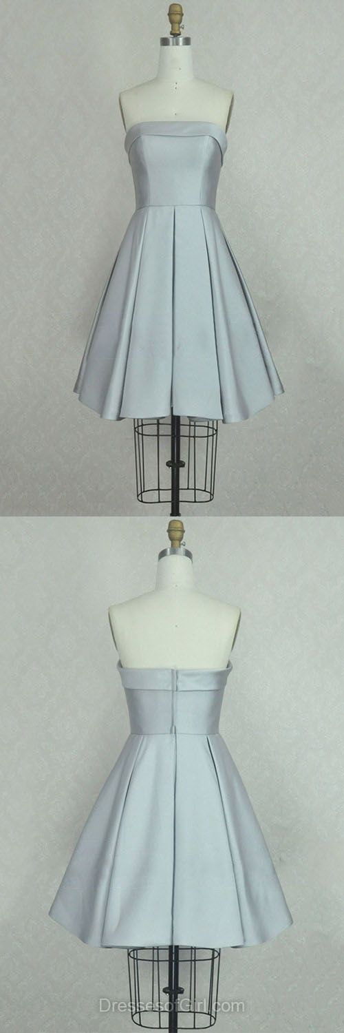 Cheap Homecoming Dresses,A-line Party Dress,Strapless Satin Cocktail Dresses,Short Cocktail Dresses,Ruffles Prom Dresses