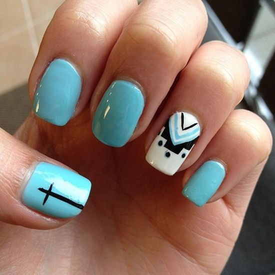 Blue, Black, and White with Cross and American Indian inspired Nail Art  Design - Cross-with-american-indian-inspired-nail-art Nails Pinterest