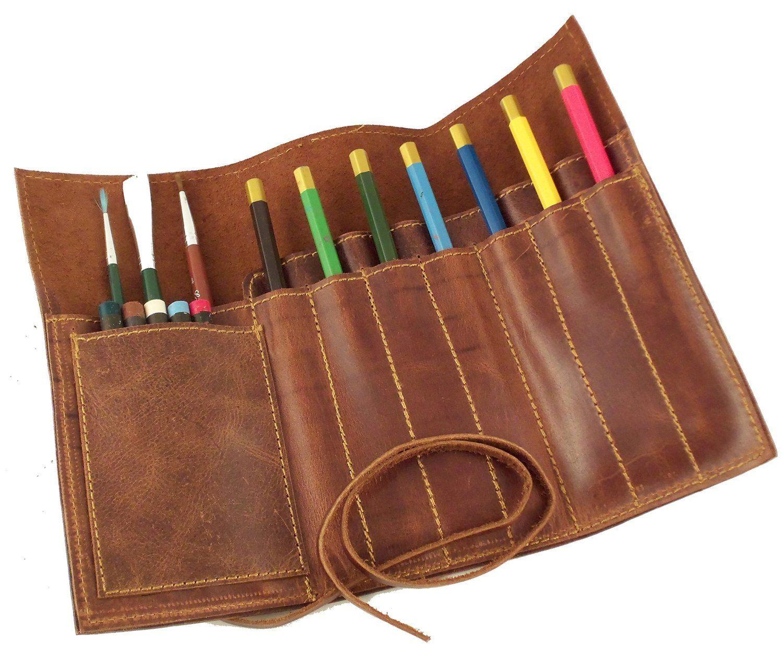 Pen Pouch Genuine Leather Pencil Bag Case Vintage Brush Holder Accessories