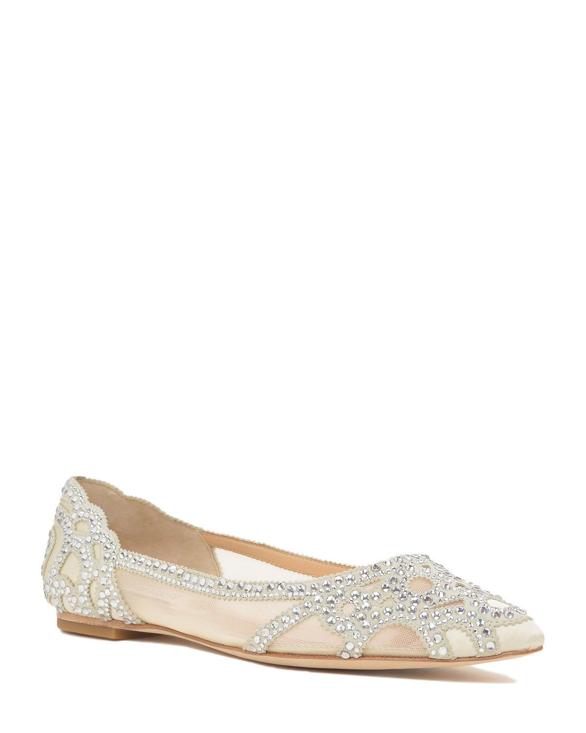 Badgley Mischka Gigi Pointed Toe Flat Evening Shoe now available at
