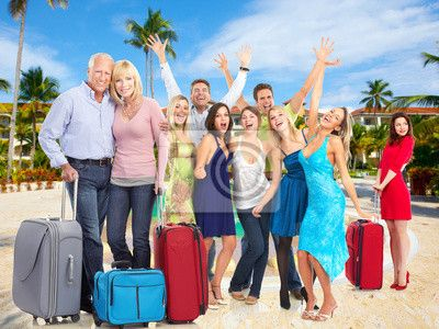 Stock photo of Happy people in tropical ressort. 57459092 - image 57459092