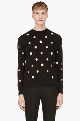 Krisvanassche Black Cut Out Polka Dot Sweater For Men Ssense