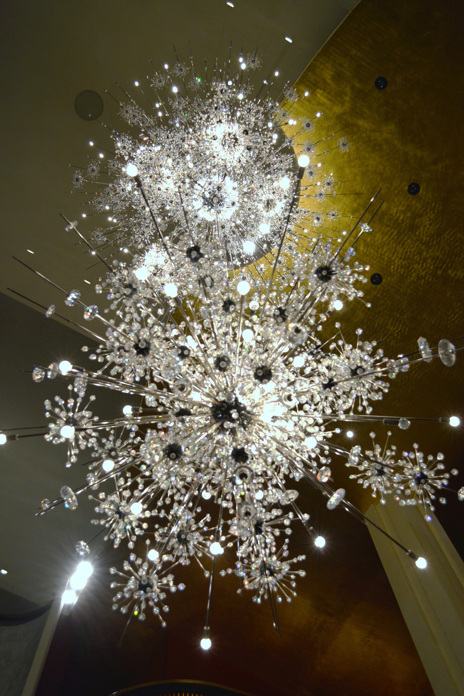 Underneath view of sparkly Sputnik chandelier at the Metropolitan