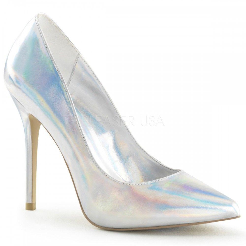 Pleaser Shoes Amuse-20 Silver Hologram Stiletto Heels Hidden Platform Court  Shoes