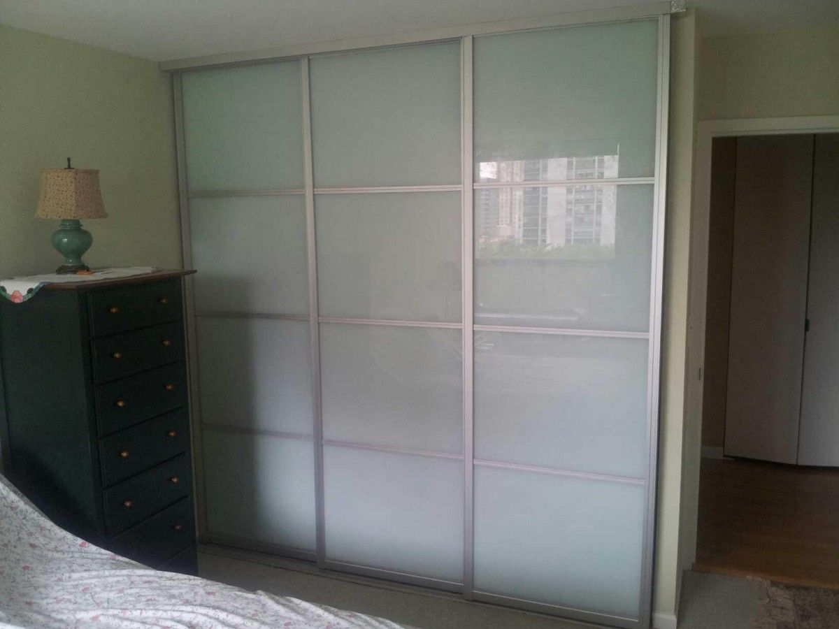 Interior sliding closet door - Home Design Stunning Triple Sliding Closet Doors Frosted Glass Fusion