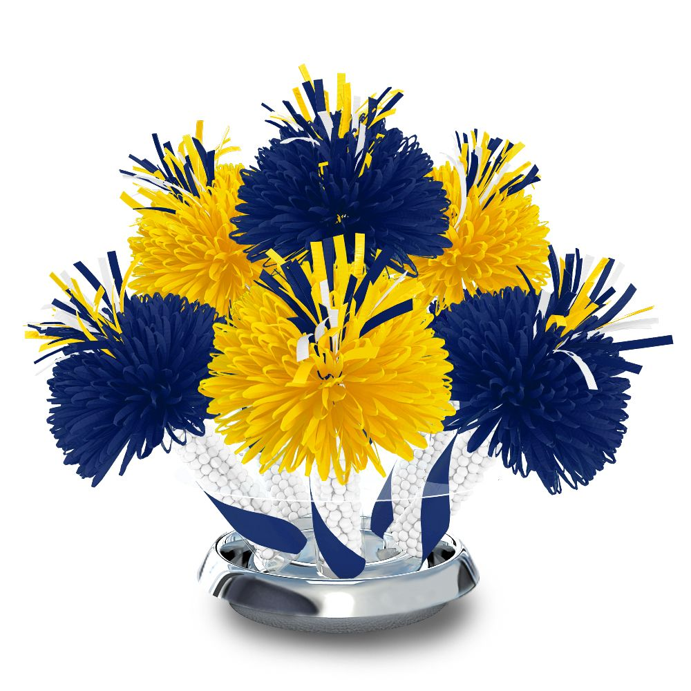 Royal blue and yellow graduation school colors centerpiece