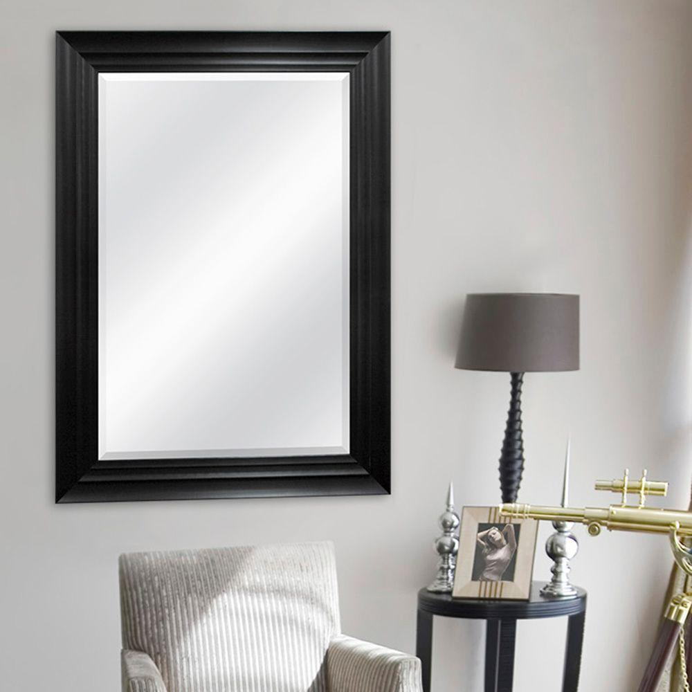 Mcs Strattan 39 In X 31 In Step Framed Mirror In Black 82025