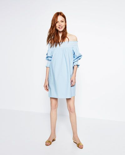 Image 1 Of Poplin Off The Shoulder Tunic From Zara Ted