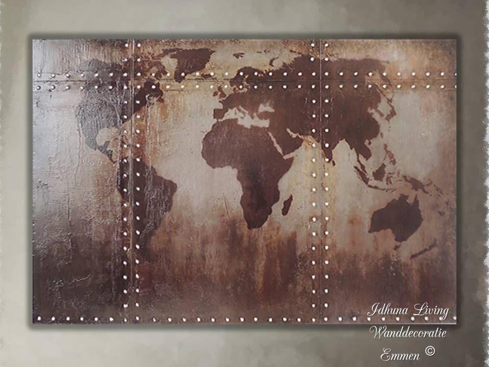 Wanddecoratie Wereldkaart Metaal.Metalen Industriele Wanddecoratie Wereldkaart Roestbruin Met Klinknagels