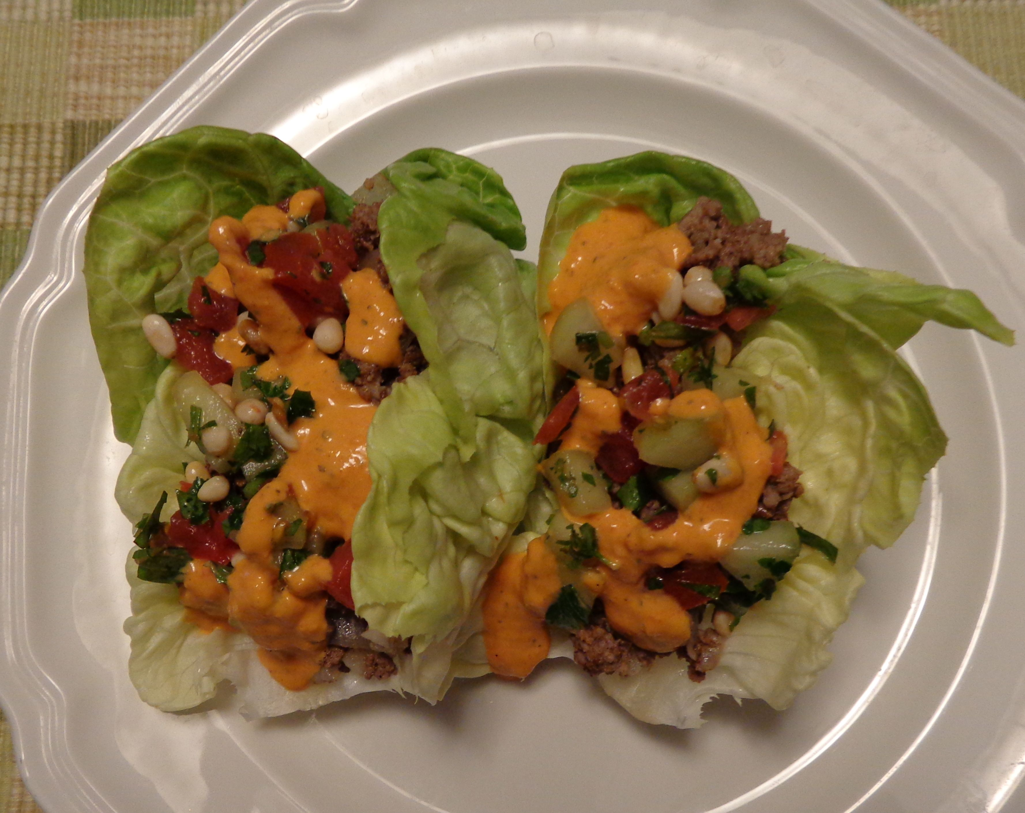 Lamb Lettuce Wraps with Cucumber Tomato Salad and Roasted Red Pepper Hummus Sauce