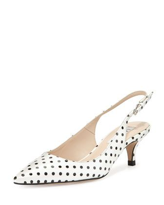 L K Bennett Mira Polka Dot Slingback Pump White Black Slingback Pump Pumps Heels Kitten Heel Shoes
