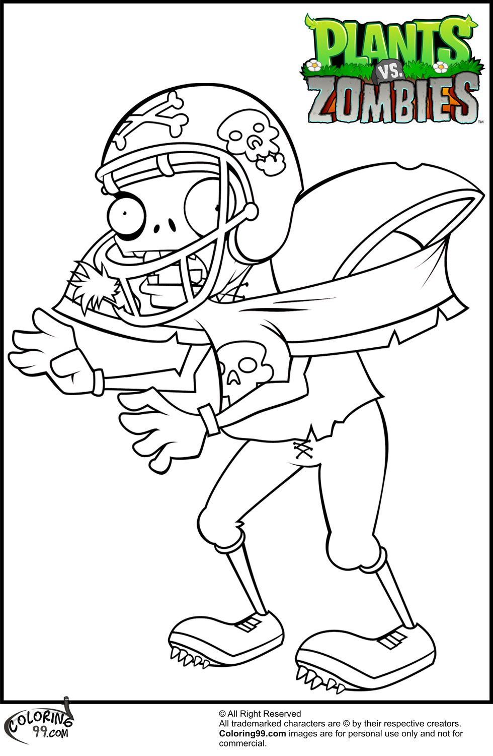 Plants v zombies coloring pages - Plants Vs Zombies Football Zombie Coloring Pages Jpg
