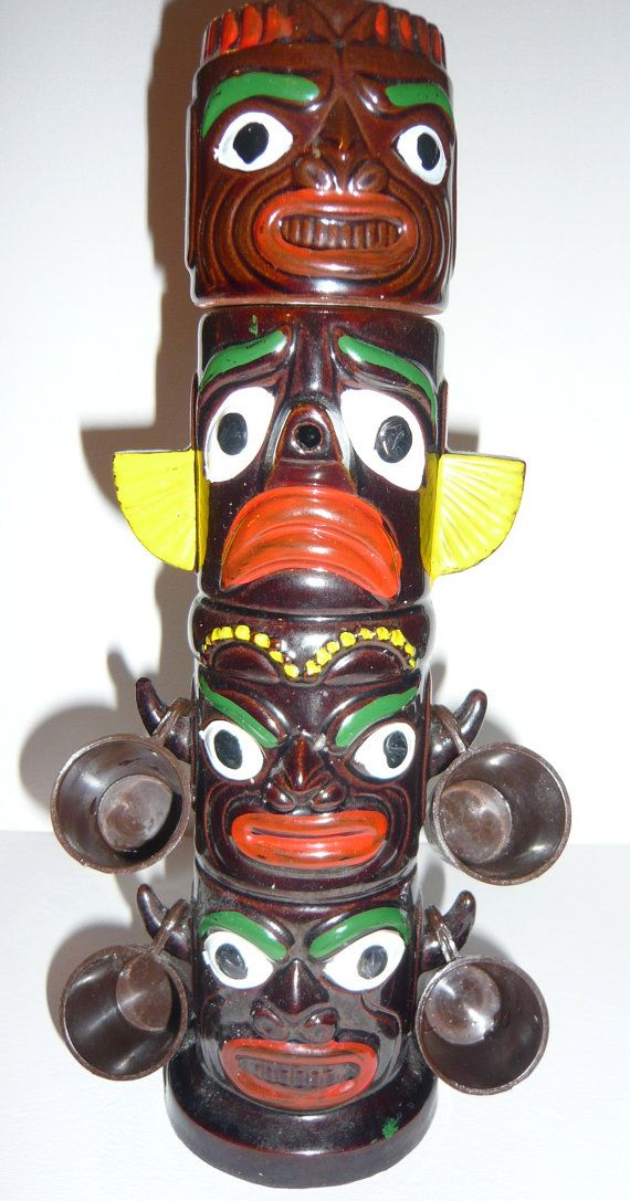 Tiki Totem Decanter with Shot Glasses ON SALE on Etsy, $20.00