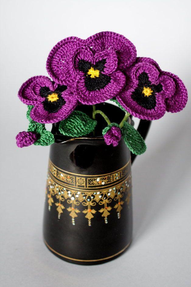 Bratki Kwiatki Na Szydelku Crochet Flowers Pansies Flowers Pansies