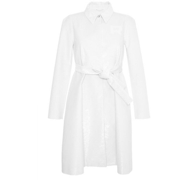 Rochas Off White Sequined Varsity Overcoat ($13,680) ❤ liked on Polyvore featuring outerwear, coats, white, white coat, sequin coat, white cotton slip, over coat and off white coat