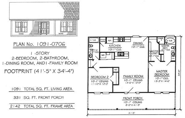 1 Story 2 Bedroom 2 Bathroom 1 Dining Room 1 Family Room House Plan House Plans Bathroom Floor Plans Barndominium Floor Plans