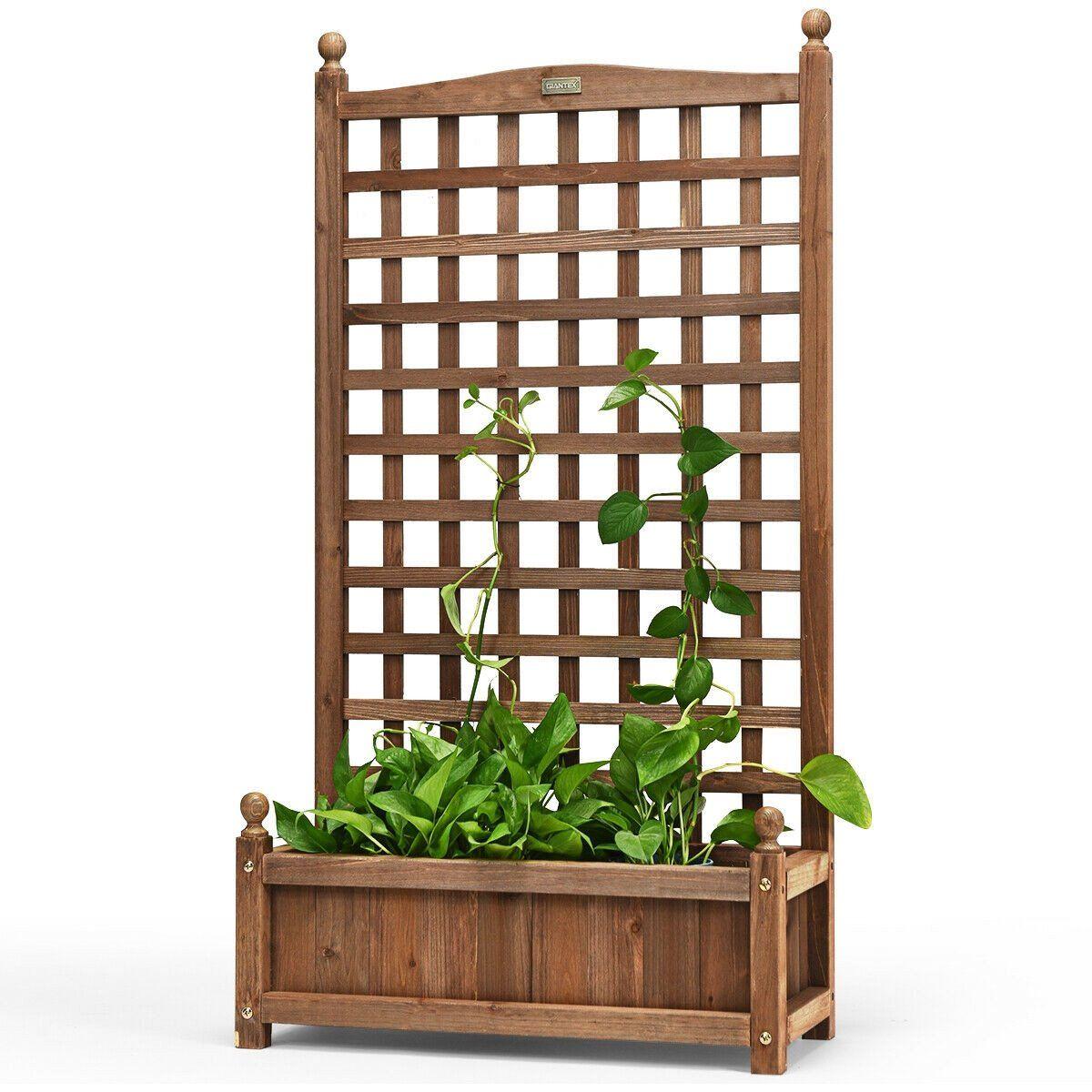 25 X11 X48 Planter With Trellis Fir Wood Outdoor Garden Flower Vine Plant Box Walmart Com Walmart In 2020 Planter Box With Trellis Wood Planters Wood Planter Box