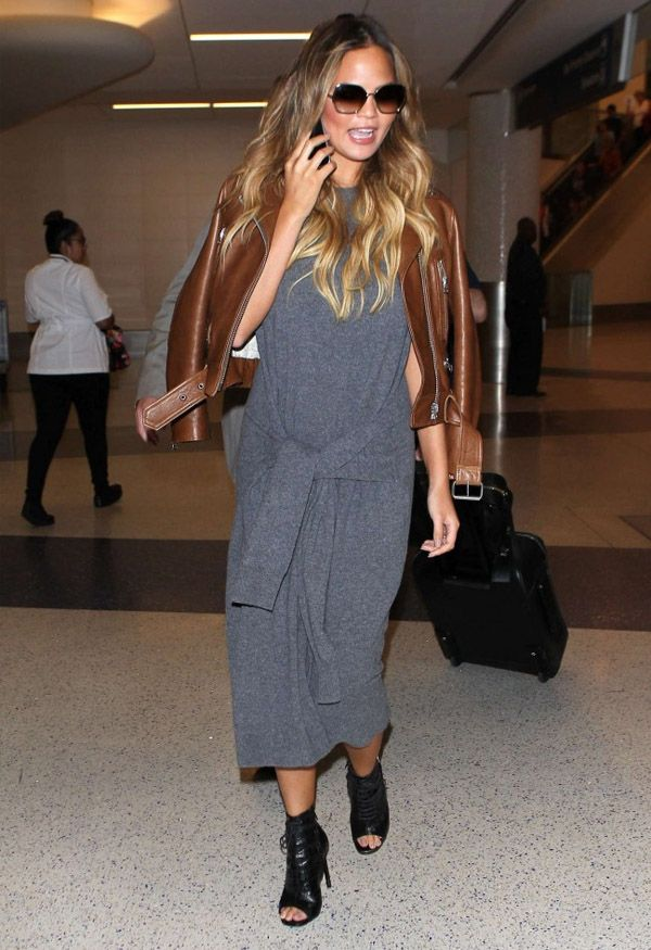 chrissy-teigen-style-grey-dress-leather-brown-jacket