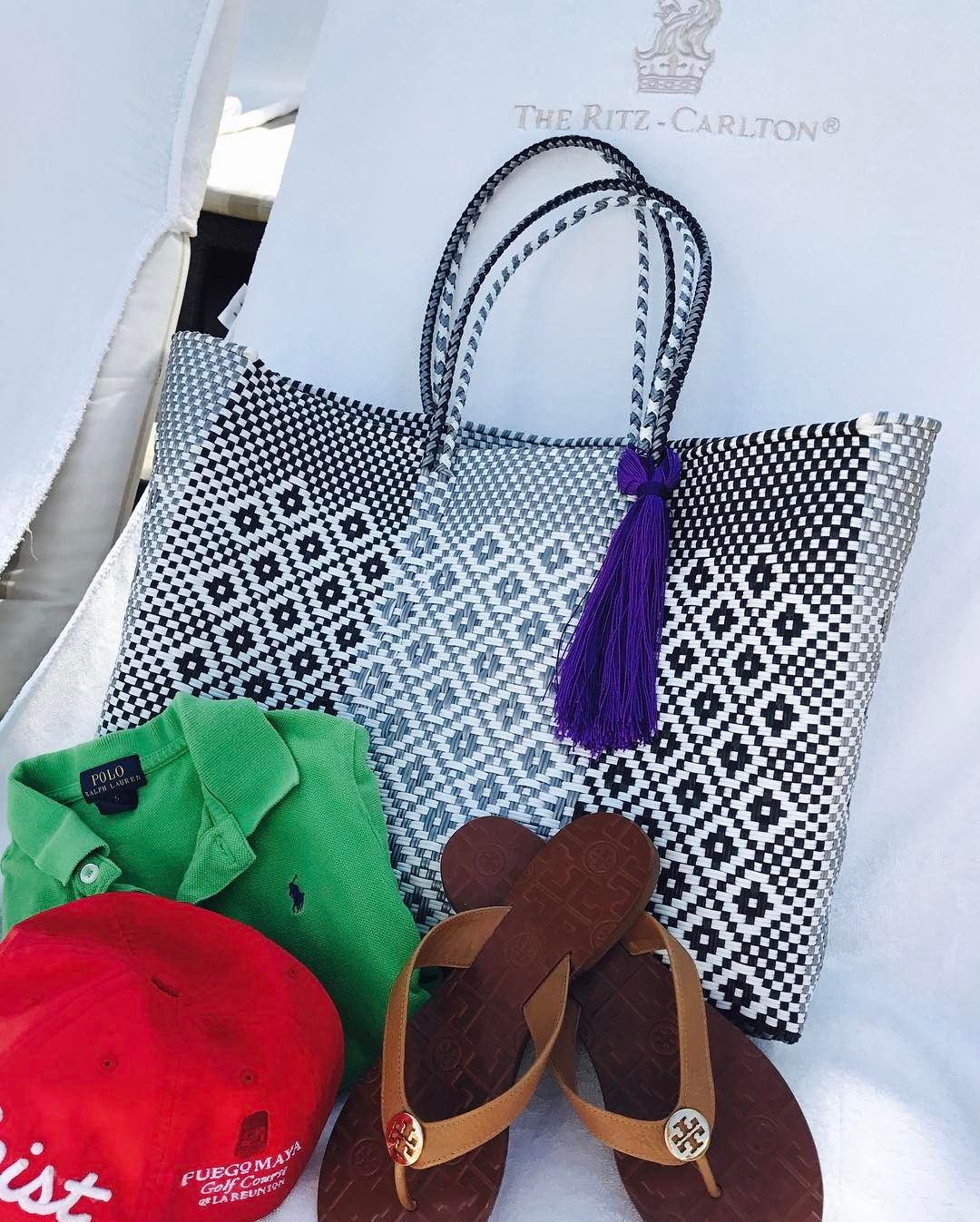 Oxiguatemala Relaxing Poolside At The Ritzcarltonranchomirage With Our Plastic Woven Beach Bag Available On
