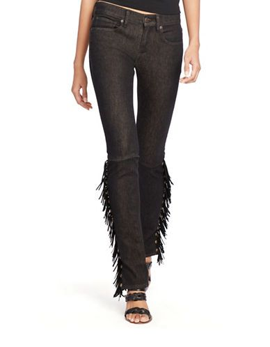 NWT Polo Ralph Lauren Tompkins Black Leather Fringed Skinny Jeans w Rivets  - 31