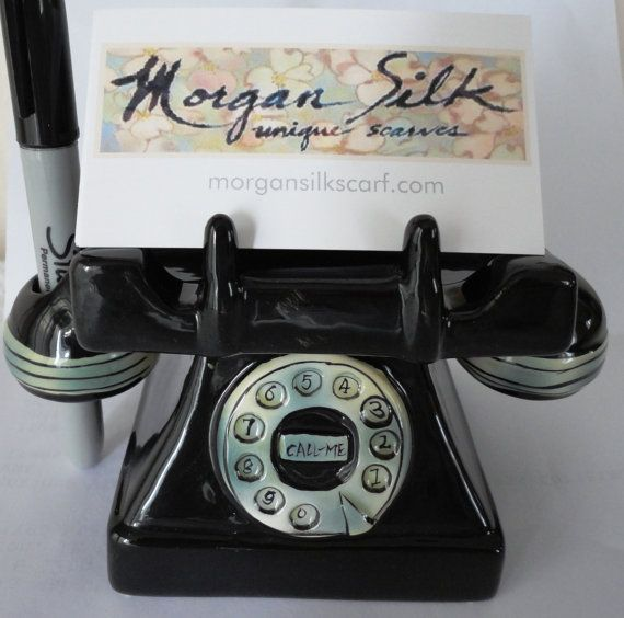 Vintage black rotary telephone business card holder desk accessory vintage black rotary telephone business card holder by lavogue 1500 reheart Gallery