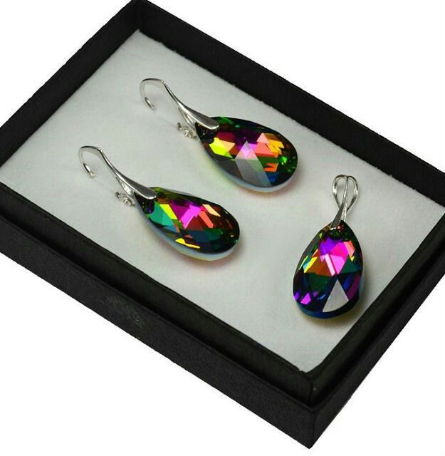 3e980abe5 *scrystals-925 Silver Earrings/Set made with Swarovski Crystals 22mm PEAR -Vitrail