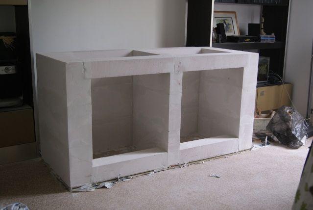 MEUBLE SALLE DE BAIN SUSPENDU SUR CARREAU DE PLATRE Galerie - Creer un meuble de salle de bain