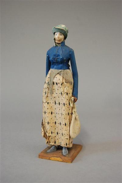 Papierfigur einer bürgerlichen Frau Deutschland, um 1800 Museum für Sächsische Volkskunst