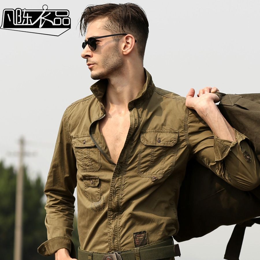 Click to Buy << High Quality Men's Casual Long Sleeved Cargo