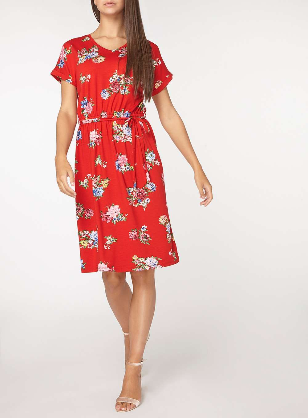 14365a335ce0 Womens   Tall Red Floral Print Midi Skater Dress- Red
